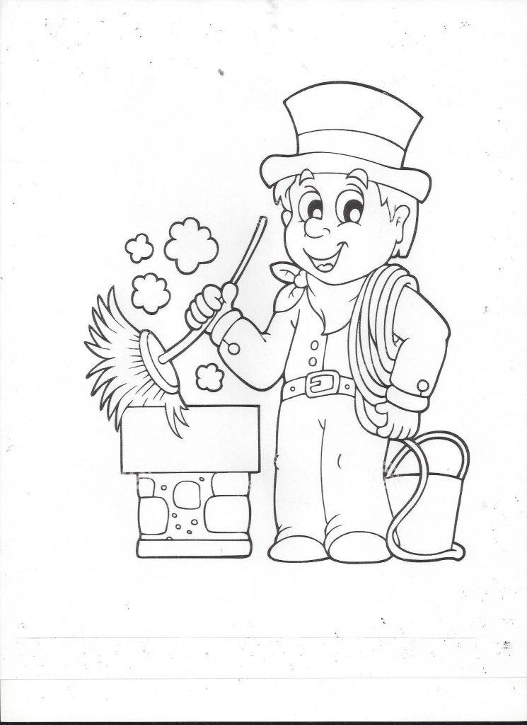 Chimney sweep coloring book page