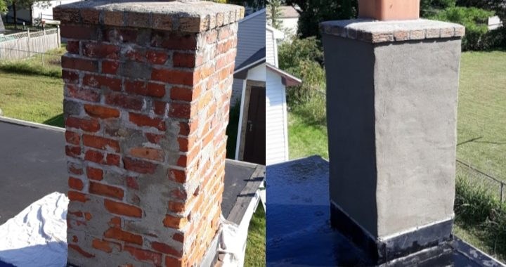 Before and after work by Tiny Tom the chimney sweep and repair company for the masses